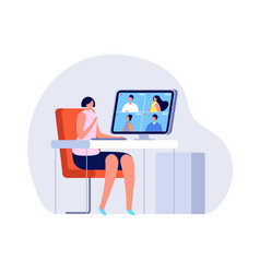 video call woman close computer online vector image