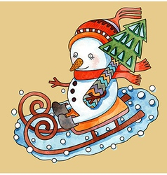 Watercolor snowman with christmas tree in sledges vector