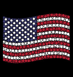 waving american flag stylization of filled circle vector image