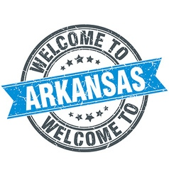 welcome to Arkansas blue round vintage stamp vector image