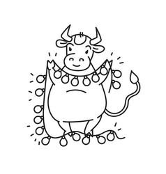 white metal bull with garland lantern - chinese vector image