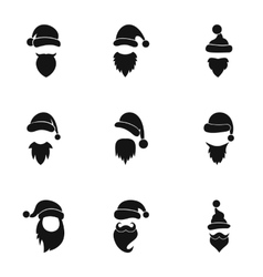Wizard santa claus icons set simple style vector
