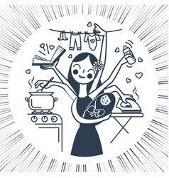 Woman icon with the child black and white vector