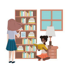 Women in the library avatar character vector