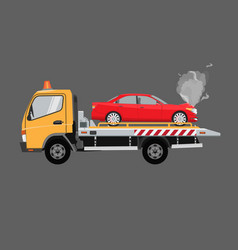 yellow tow truck with sedan car on it flat vector image