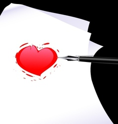 abstract heart of a writer vector image vector image