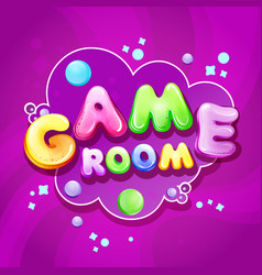 Cartoon kids game room poster template vector