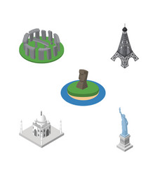 isometric architecture set of chile india mosque vector image