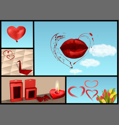 set for valentines day vector image