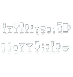 set of wine glasses in a linear style vector image
