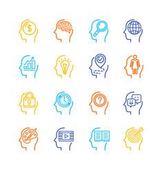 symbol human mind color thin line icon set vector image vector image