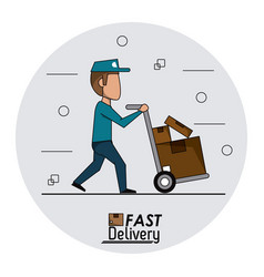 circular frame background fast delivery man with vector image