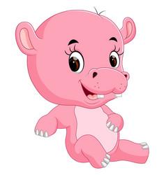 cute baby hippo vector image