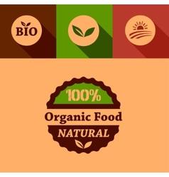 flat organic food design elements vector image