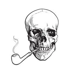 hand drawn human skull smoking lacquered wooden vector image vector image