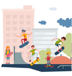 skateboarder active people park sport extreme vector image