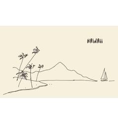 Sketch Hawaiian seaside view hand drawn vector image