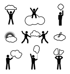 stick figure and clouds vector image vector image