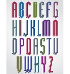 Thin narrow bright animated font uppercase letters vector