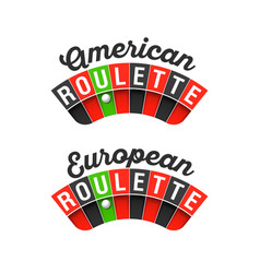 american and european roulette wheel signs vector image