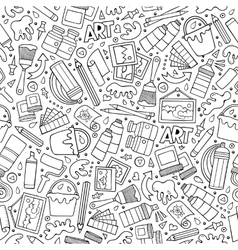 Cartoon cute hand drawn Artist seamless pattern vector image vector image