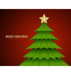 Christmas green tree and star background vector image