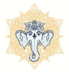 Hand drawn Elephant Head on ornament background vector image