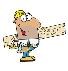 Hispanic Construction Worker Carrying A Wood Board vector image