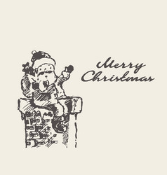 merry christmas card cute drawn santa claus vector image vector image