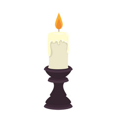 paraffin candle in candlestick vector image