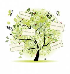 wish tree floral with cards vector image vector image