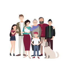 big family portrait happy people with relatives vector image vector image