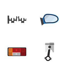 flat icon auto set of headlight steels shafts vector image vector image
