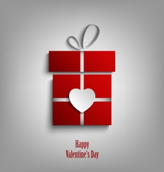 Valentine card with red gift and heart template vector image