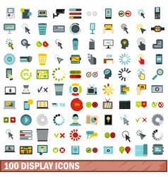 100 display icons set flat style vector image
