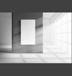 3d room interior with with sunlight beam vector image