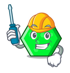 automotive octagon mascot cartoon style vector image