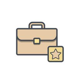 bag briefcase business portfolio star icon vector image