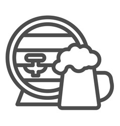 Barrel and mug beer line icon craft beer vector