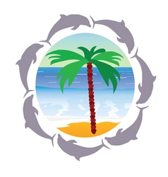 Beach paradise with palm and dolphin vector