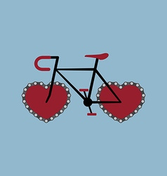 Bicycle with heart shape chain wheel vector