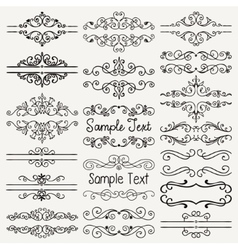Black Hand Drawn Dividers Frames Swirls vector image vector image