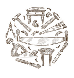 Building instrument sketch carpentry tools wood vector