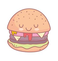burger character menu restaurant cartoon food cute vector image