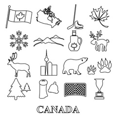 Canada country theme symbols outline icons set vector