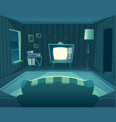 Cartoon living room at night interior vector