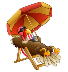 Cartoon turkey bird sitting on beach chair vector