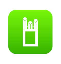 Chalks in carton box icon digital green vector