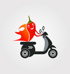 Chili and motorcycle combination logo design vector
