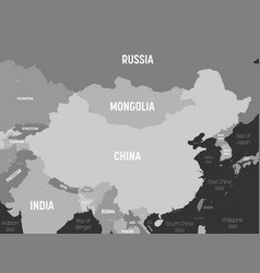 China map - grey colored on dark background high vector
